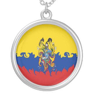 Ecuador Gnarly Flag Round Pendant Necklace