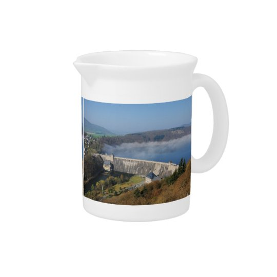 Edersee concrete dam with fog beverage pitchers