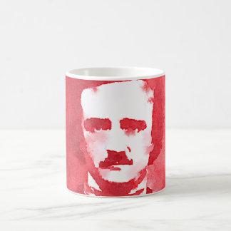 Edgar Allan Poe Pop Art Portrait in red Coffee Mug