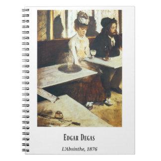 Edgar Degas, L'Absinthe, Fine Art Painting Spiral Notebook