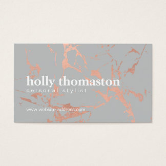 Edgy Cracked Rose Gold Marble on Gray Designer Business Card