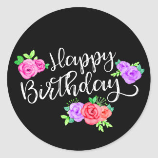 Edgy Roses & Modern Stripes Trendy Happy Birthday Classic Round Sticker