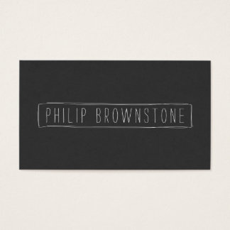 Edgy Sketched Hand-Written Name in Box Business Card