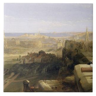 Edinburgh from the Castle, 1847 (oil on canvas) Tile