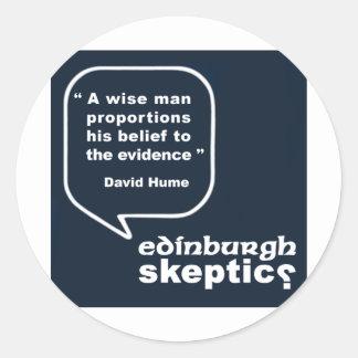 Edinburgh Skeptics - Hume Quote Classic Round Sticker