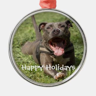 Editable Brown Pitbull In Grass Christmas Ornament