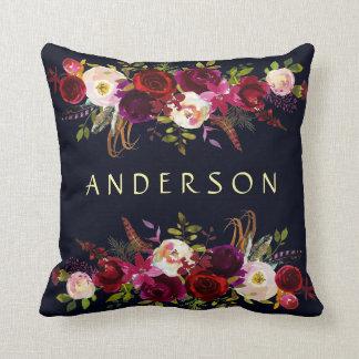 EDITABLE COLOR Navy Burgundy Rustic Boho Floral Cushion