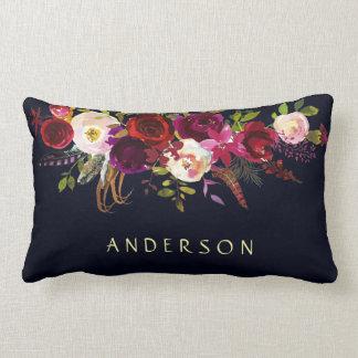 EDITABLE COLOR Navy Marsala Rustic Boho Floral Lumbar Cushion