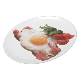 Egg & bacon with salad and tomatoes plate