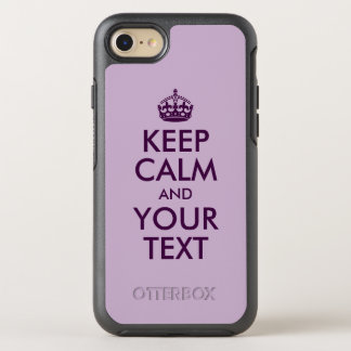 Eggplant Keep Calm and Your Text OtterBox Symmetry iPhone 7 Case
