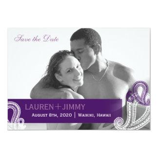 Eggplant Paisley Wedding Photo Save the Date Card
