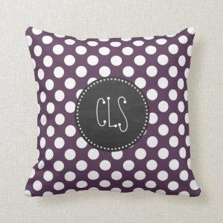 Eggplant Purple Polka Dots; Chalkboard Cushion