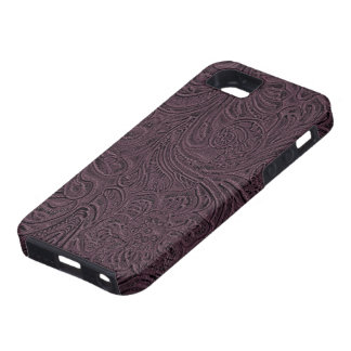 Eggplant Purple Tooled Leather Look Cowboy Country Tough iPhone 5 Case