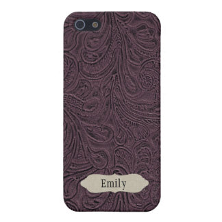 Eggplant Purple Tooled Leather Look Personalized iPhone 5 Cover