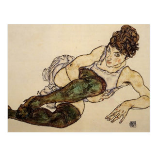 Egon Schiele- Reclining Woman with Green Stockings Postcard
