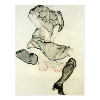 Egon Schiele- Woman with Black Stockings Postcard