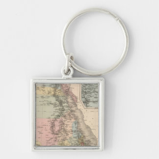 Egypt and Abyssinia Silver-Colored Square Key Ring
