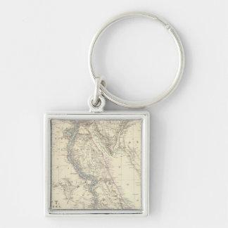 Egypt, Arabia Petraea, Nubia Silver-Colored Square Key Ring