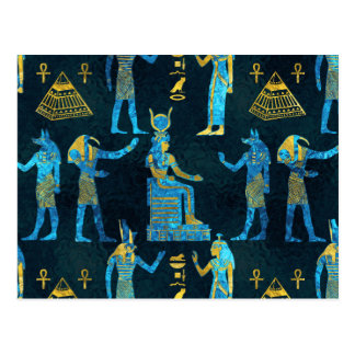 Egyptian  Gold and blue glass pattern Postcard