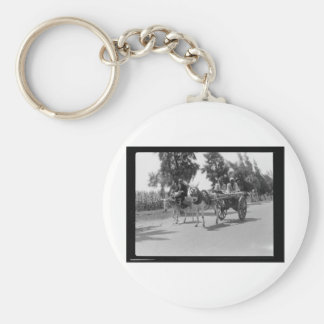 Egyptians with Carts and Donkeys circa 1934 Key Ring