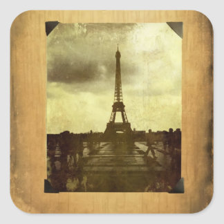 Eiffel Tower Antiqued Scrapbook Page Square Sticker