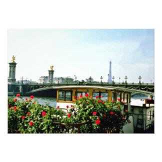 Eiffel Tower, barges, Paris, France  flowers Personalized Announcement