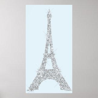 Eiffel Tower Blue Gray Swarovski Crystals Paris Poster