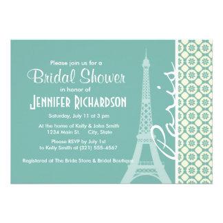 Eiffel Tower Blue-Green Cream Paris Personalized Invitations