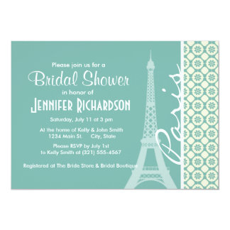 Eiffel Tower; Blue-Green & Cream Paris Personalized Invitations