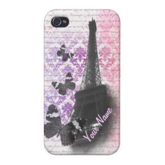 Eiffel tower & butterflies cases for iPhone 4