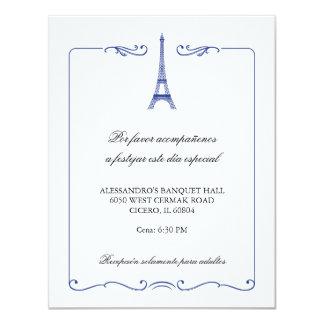 Eiffel Tower Elegant Reception Card 11 Cm X 14 Cm Invitation Card