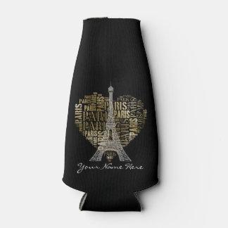 Eiffel Tower   Golden Inscriptions Paris in Heart Bottle Cooler