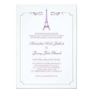 Eiffel Tower in Lavender Elegant Wedding Invitatio 13 Cm X 18 Cm Invitation Card