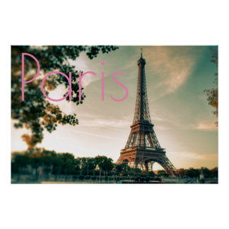 Eiffel Tower in Paris Romantic Love City Poster
