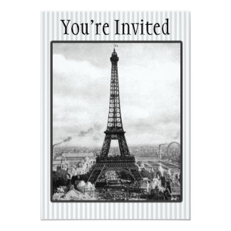 "Eiffel Tower In Paris Striped Vintage 5"" X 7"" Invitation Card"