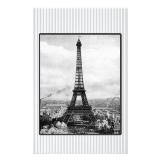 Eiffel Tower In Paris Striped Vintage Stationery