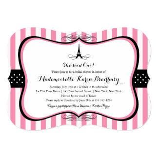 Eiffel Tower Paris Bridal Shower 13 Cm X 18 Cm Invitation Card