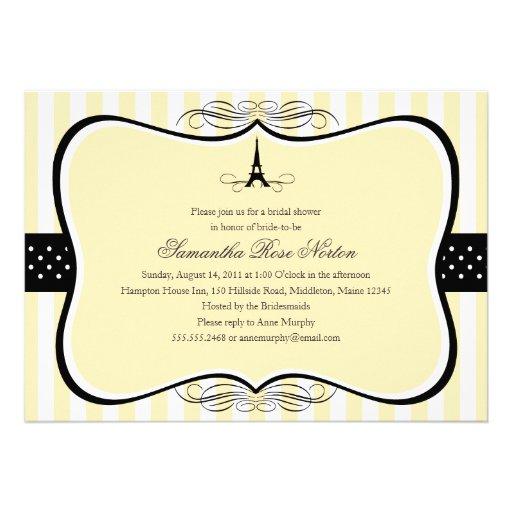 Eiffel Tower Paris Bridal Shower Invite