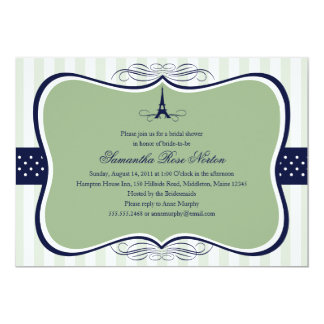Eiffel Tower Paris Bridal Shower Personalized Invitation