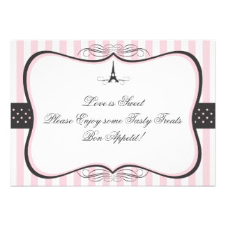 Eiffel Tower Paris Candy Sign Personalized Invites