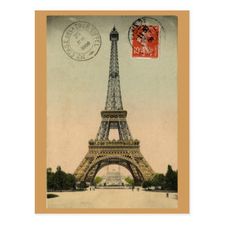 Eiffel Tower, Paris, France, Vintage Retro Postcard