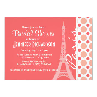Eiffel Tower, Paris, Pink & Coral Polka Dots 13 Cm X 18 Cm Invitation Card