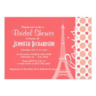 Eiffel Tower Paris Pink Coral Polka Dots Card