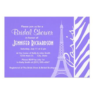 Eiffel Tower Paris Purple Zebra Stripes Invite