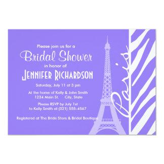 Eiffel Tower, Paris, Purple Zebra Stripes Invite