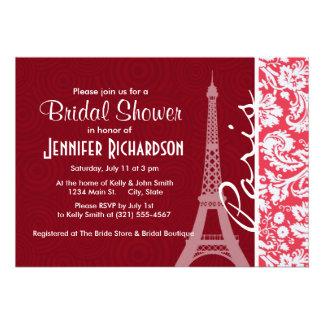 Eiffel Tower Paris Red Damask Announcement