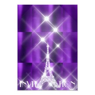 Eiffel Tower Paris Sparkly Stars Purple Diamond Card