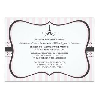 Eiffel Tower Paris Wedding 13 Cm X 18 Cm Invitation Card