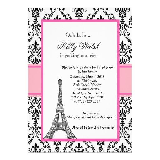 Eiffel Tower Pink Paris Bridal Shower Invitation Personalized Invitation