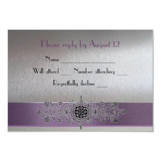 Eiffel Tower Purple and Silver RSVP 9 Cm X 13 Cm Invitation Card
